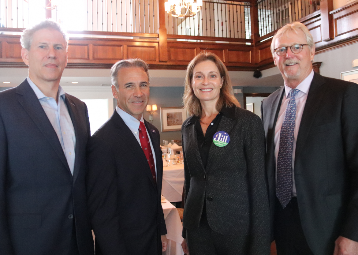 VP of the Chamber of Commerce board Nat Barnum with First Selectmen candidates State Rep Fred Camillo (R) and BET chair Jill Oberlander (D), and Chair of the board of the Chamber of Commerce Peter Carlson at the Greenwich Water Club?s forum for First Selectman Candidates. Oct 17, 2019 Photo: Leslie Yager
