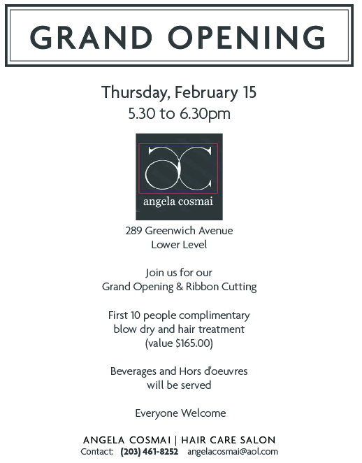 ANGELA COSMAI SALON GRAND OPENING FLYER