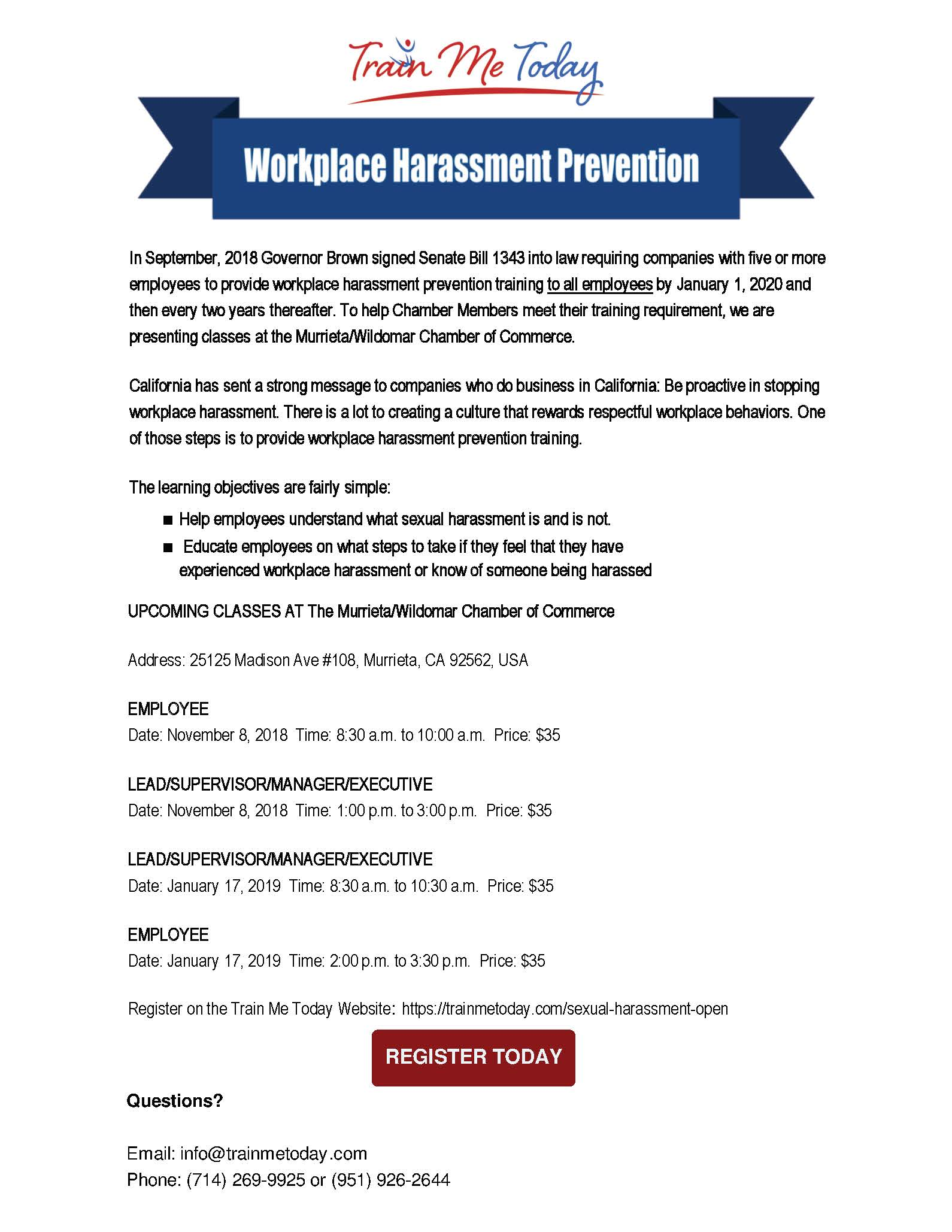 California chamber of commerce sexual harassment training