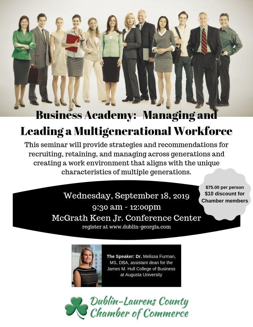 "Business Academy: ""Managing and Leading a Multigenerational Workforce""  - Dr. Melissa Furman, Guest Speaker"
