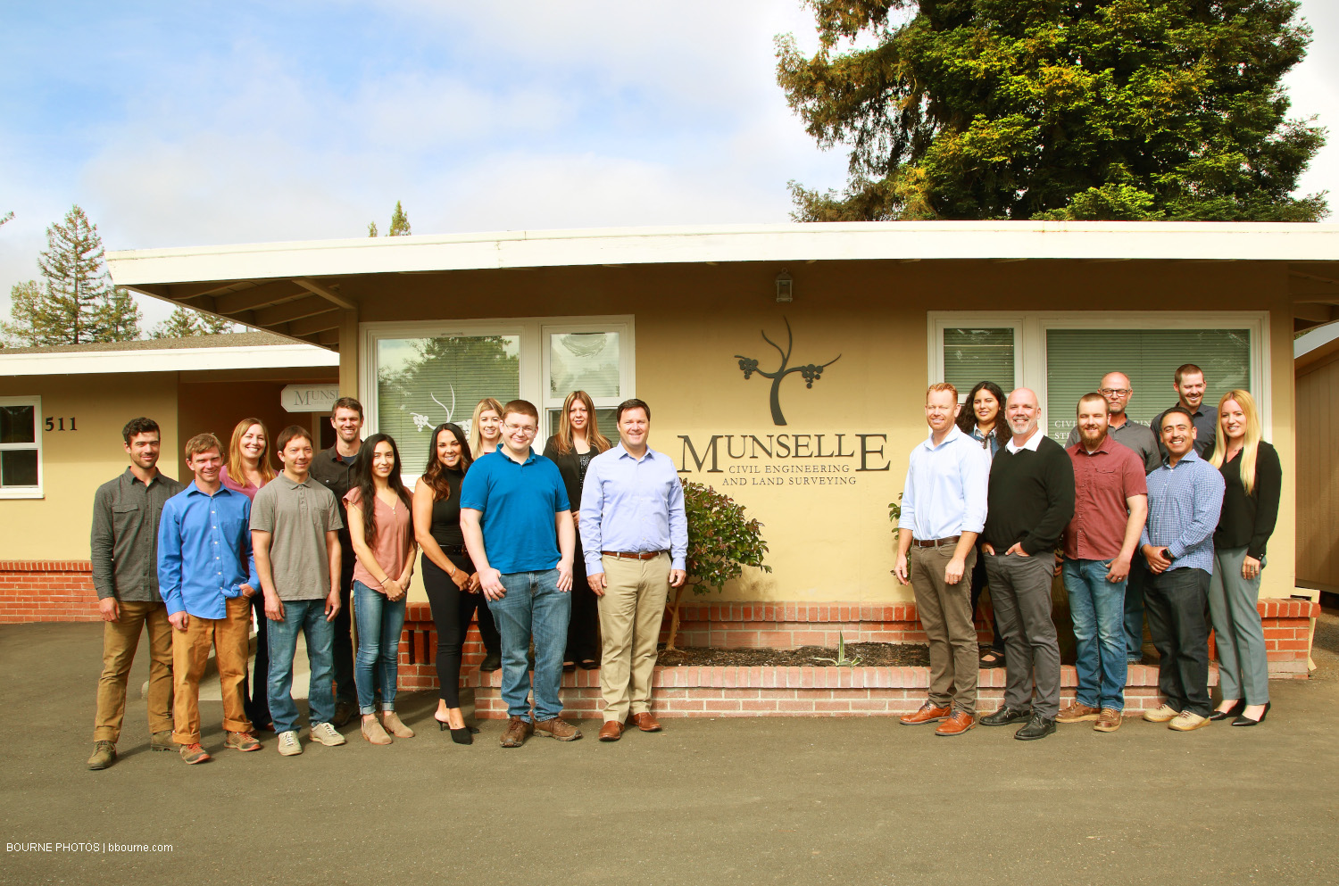 munselle civil engineering team standing in front of office building. 511. munselle civil engineering and land surveying