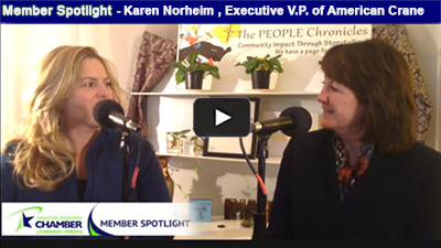 Karen Norheim, Exec. VP of American Crane & Equipment Corp., headquartered in Berks County, provides over 40,000parts and supplies globally to over 15 industries – who knew?!