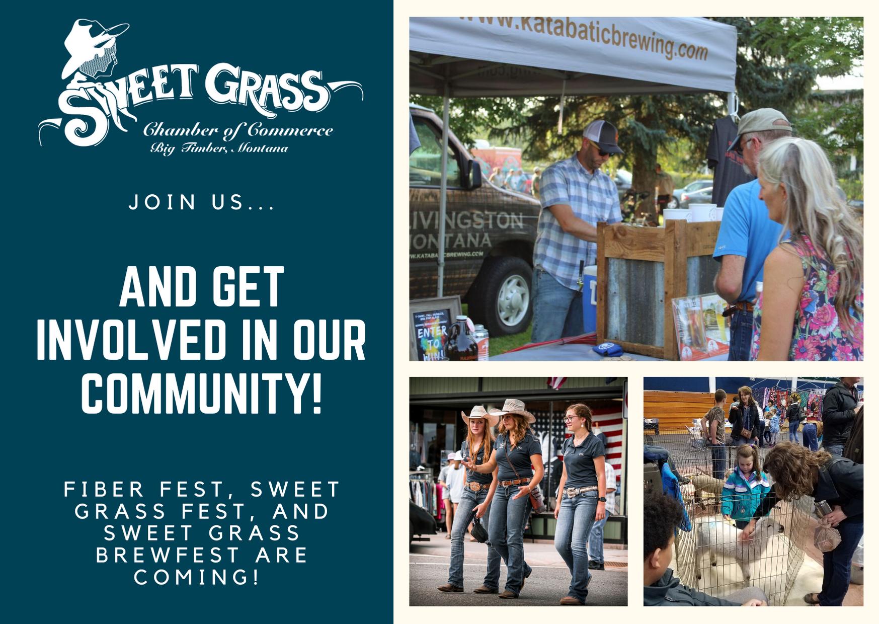 joinus events sweet grass fest fiberfest brewfest community volunteer big timber montana