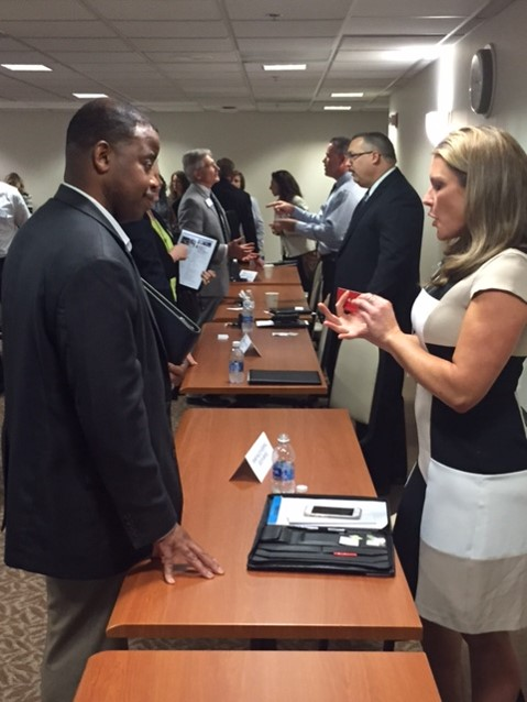 Representatives of women- and minority-owned businesses speak with Premier Health officials during a June 2016 supplier diversity community outreach event at Miami Valley Hospital.