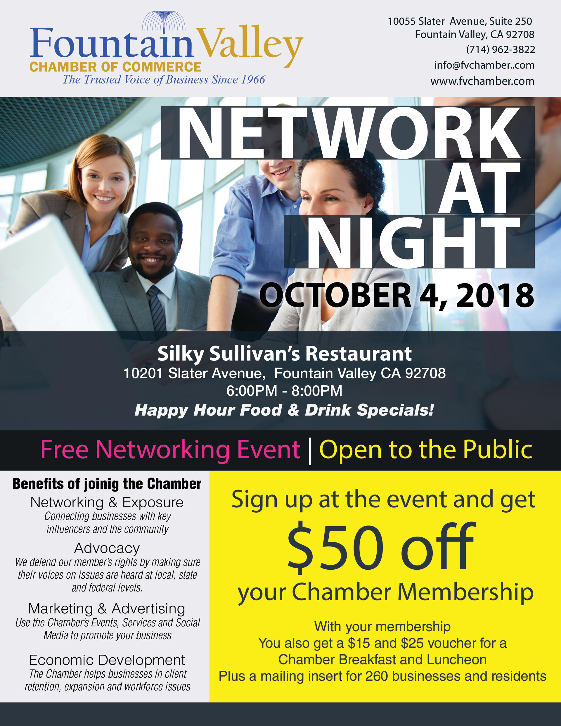 Network at night fountain valley chamber
