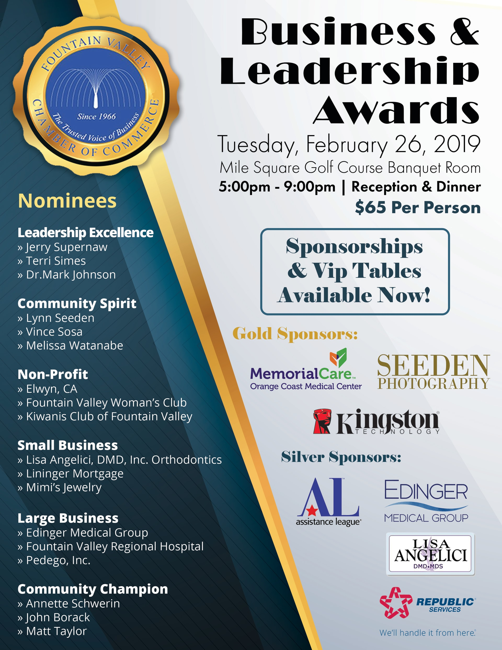 Fountain Valley Chamber of Commerce Business and Leadership Awards