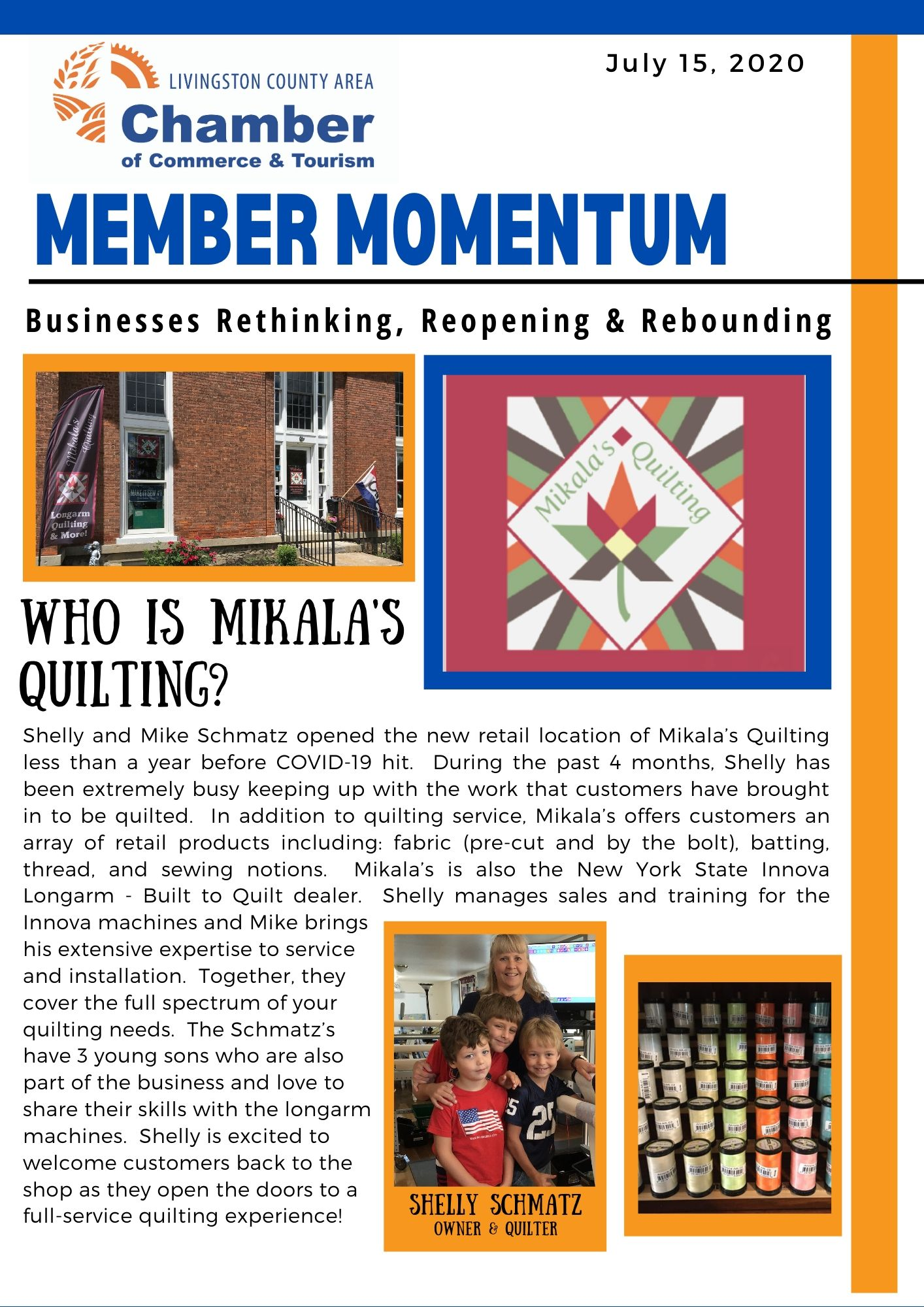 Mikala's Quilting Member Momentum piece page 1