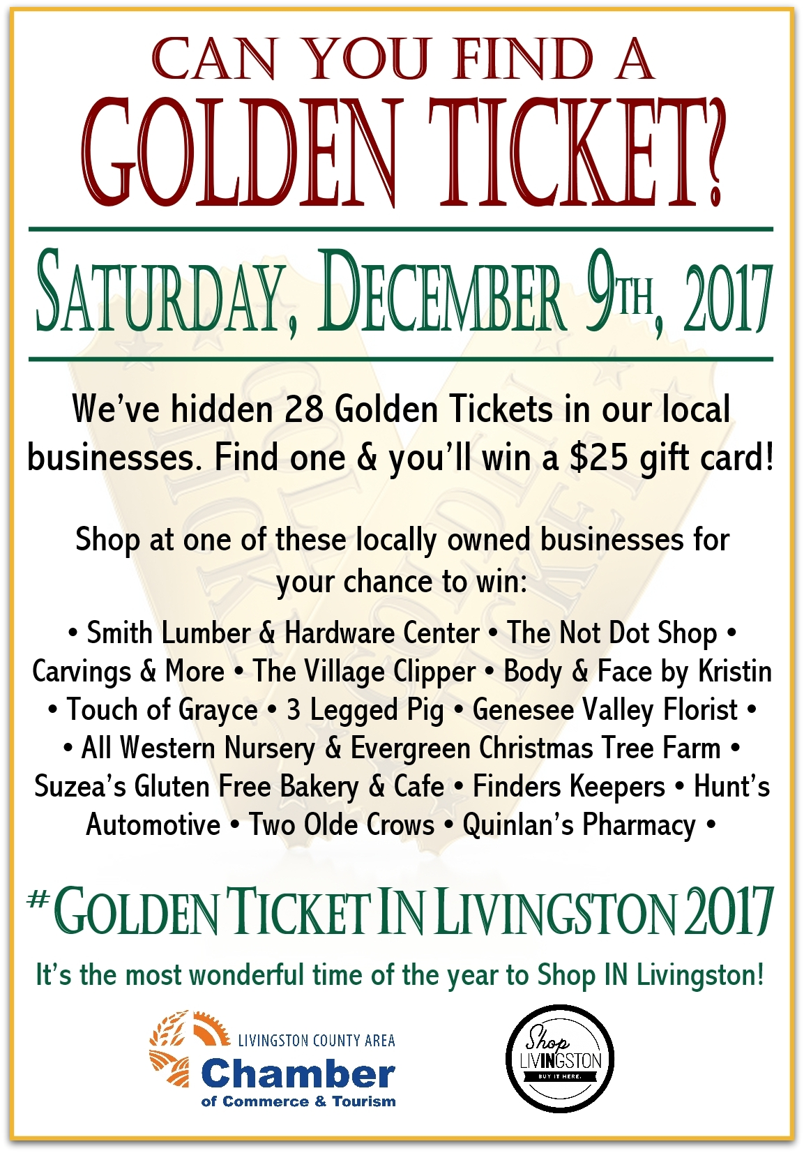 Golden Ticket, Livingston County Chamber, Shop Local, Shop In Livingston