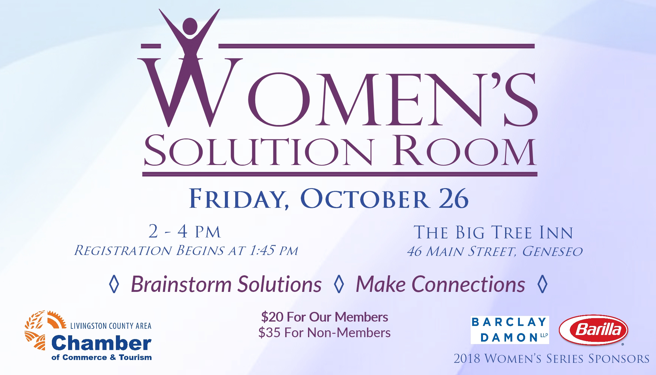 Livingston County Chamber of Commerce & Tourism's Women's Solution Room, Big Tree Inn, Barilla, Barclay & Damon