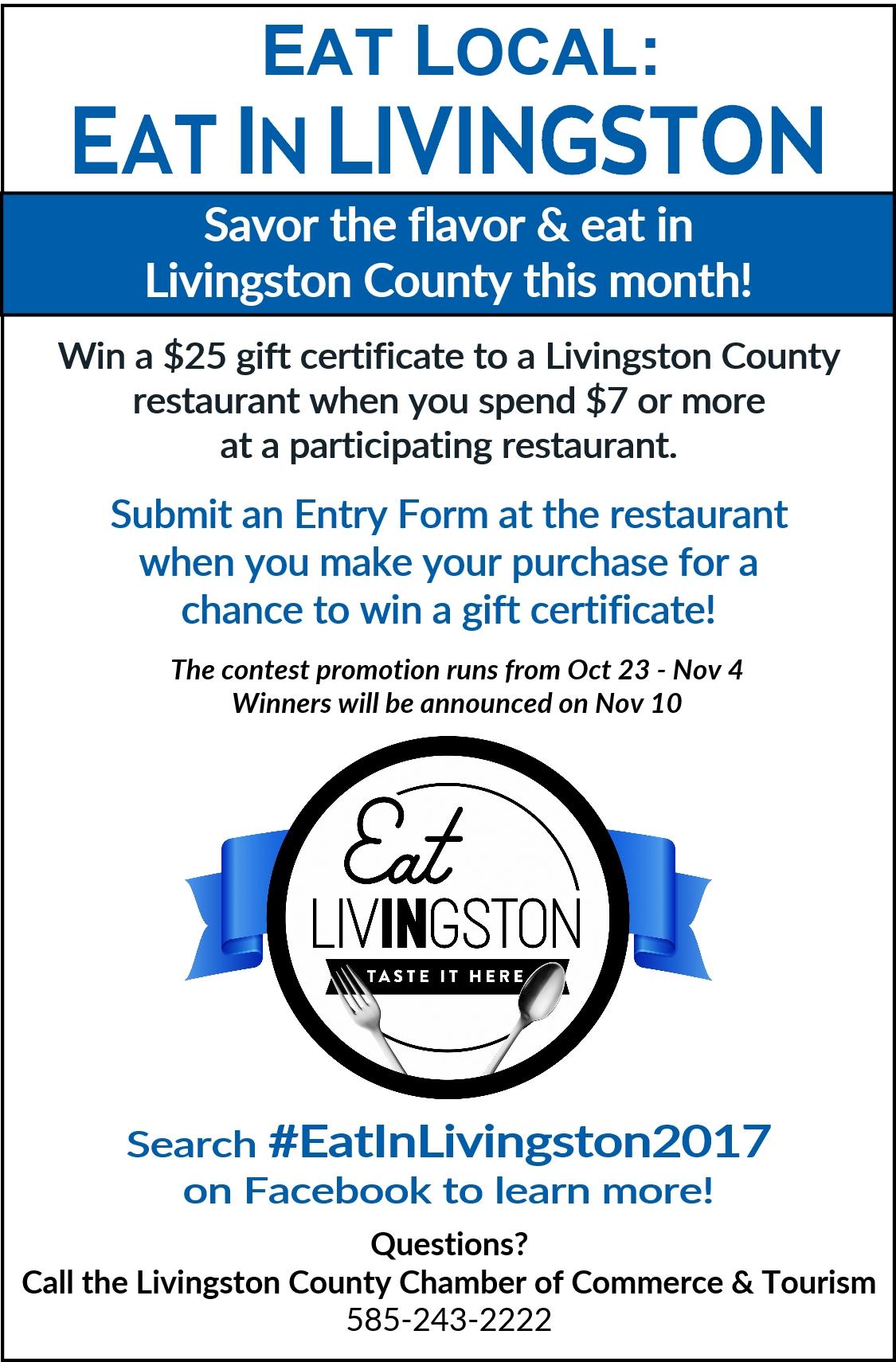 Eat in Livingston 2017 Restaurant Promotion