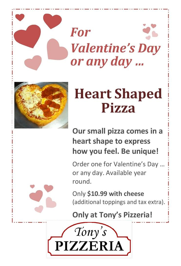 Tony's Pizzeria, Dansville NY, Livingston County Chamber of Commerce and Tourism, Eat IN Livingston, Pizza, Heart Shaped Pizza, Love, Valentine's Day