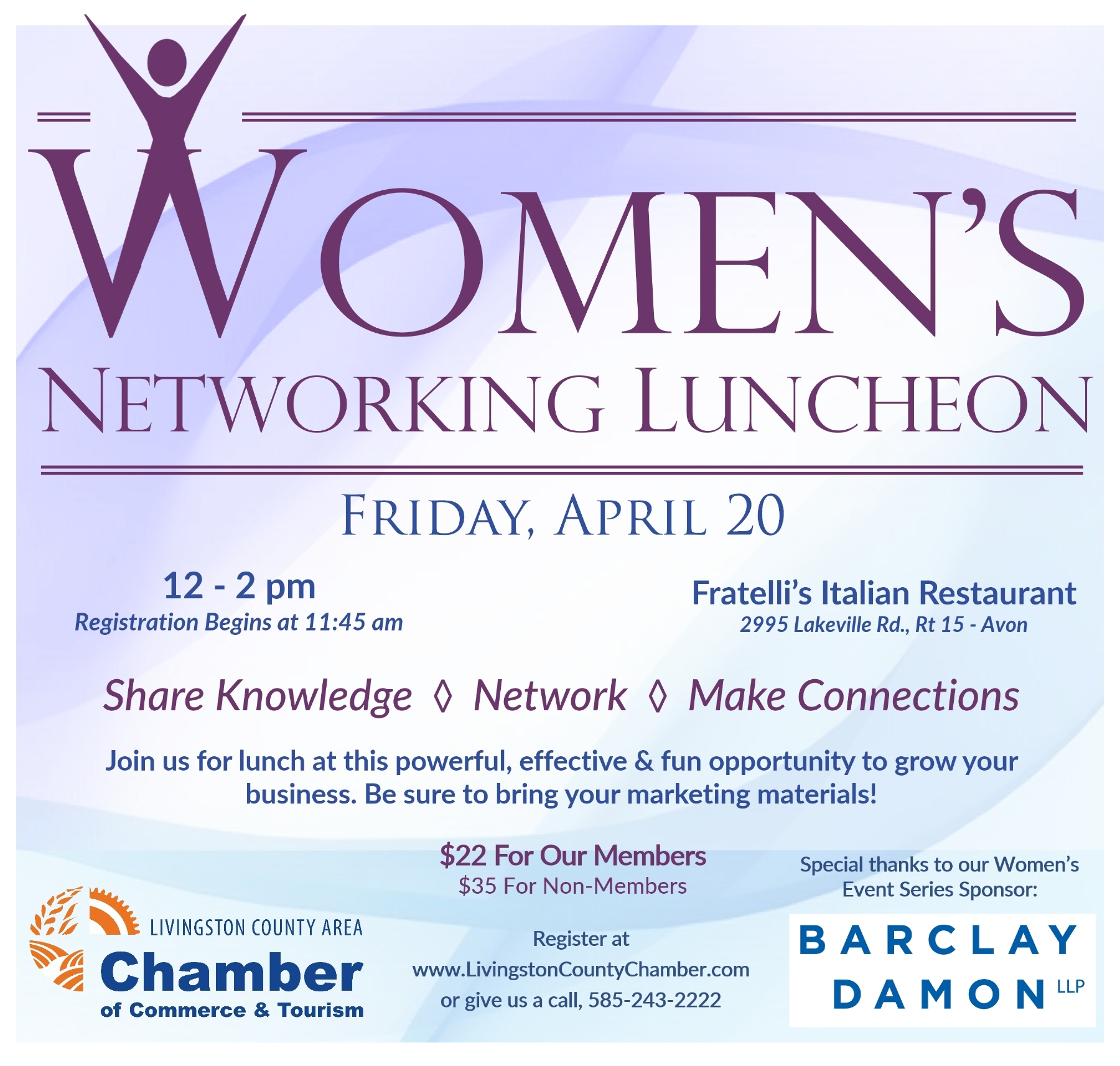 Livingston County Chamber of Commerce - Women's Networking Luncheon, April 20, 2018