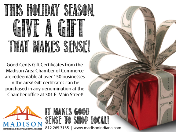 Madison Indiana, Madison Area Chamber of Commerce, Shop Local, Shop Small, Shop Small Business, Shop Small Saturday, Good Cents, Good Cents Gift Certificate, Gift Certificate, Downtown Madison, Southern Indiana, Indiana, Holiday shopping, Christmas shopping