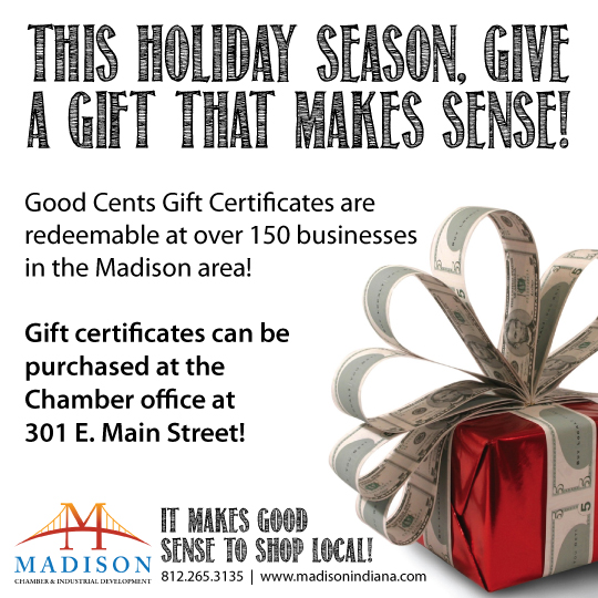 Madison Indiana, Madison Area Chamber of Commerce, Shop Local, Shop Small, Shop Small Business, Shop Small Saturday, Good Cents, Good Cents Gift Certificate, Gift Certificate, Downtown Madison, Southern Indiana, Indiana