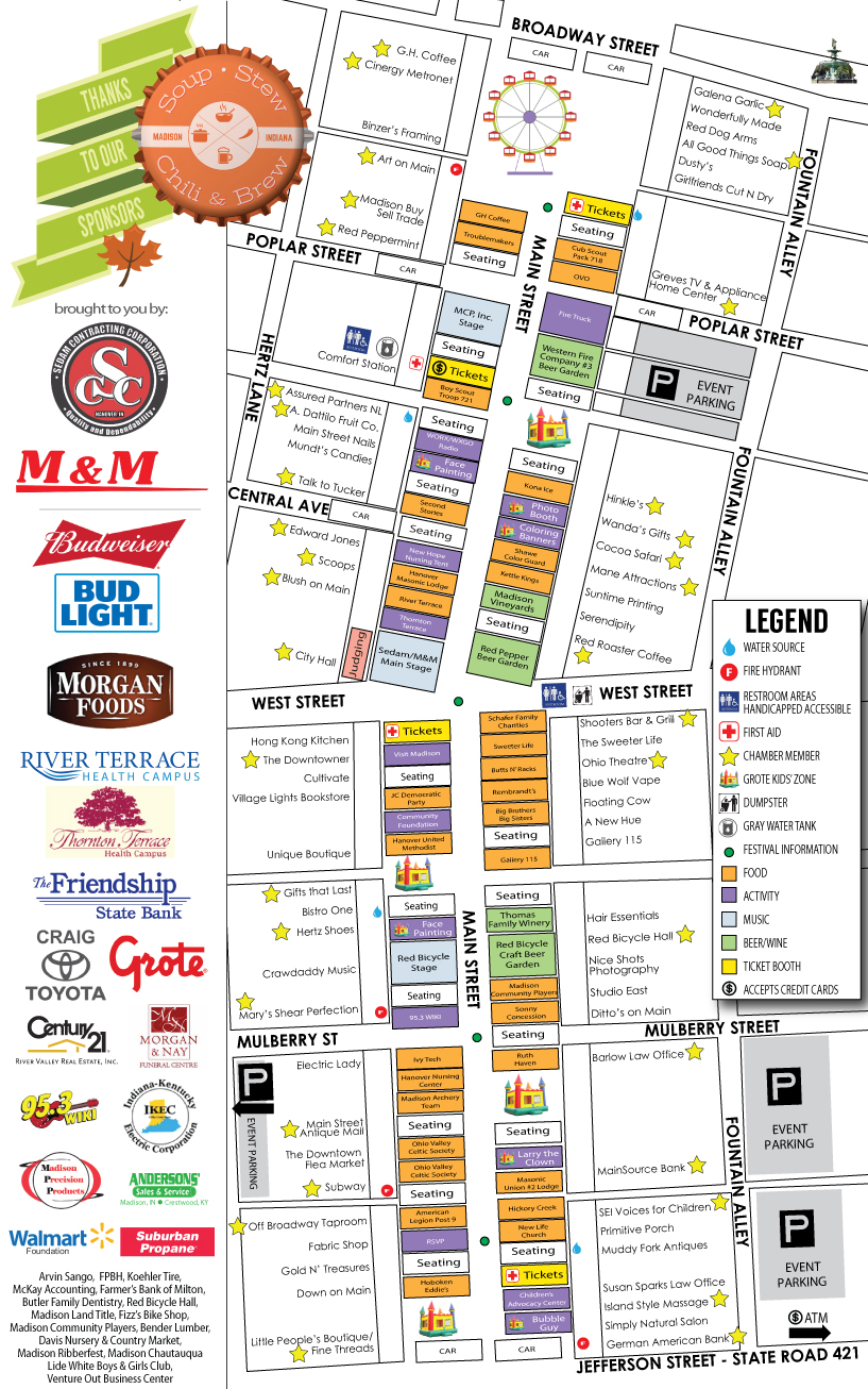 Soup Stew Chili and Brew Festival Madison Indiana 2017 Map