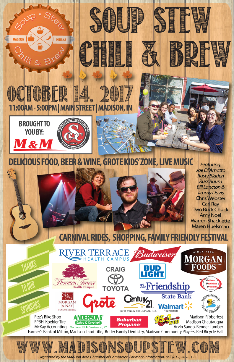 Soup Stew Chili & Brew Madison Indiana 2017 Poster