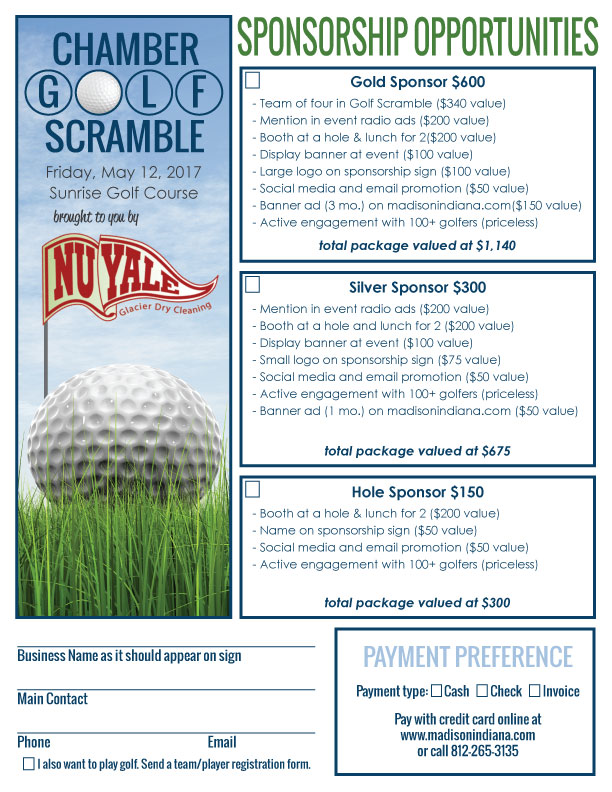 Madison Indiana Chamber Golf Scramble Sponsorships