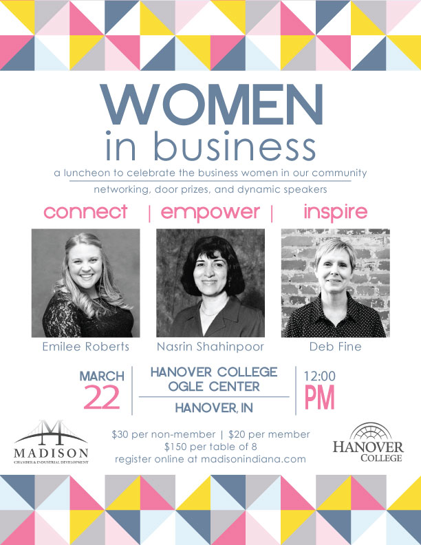 Women in Business luncheon Madison Indiana area Hanover College