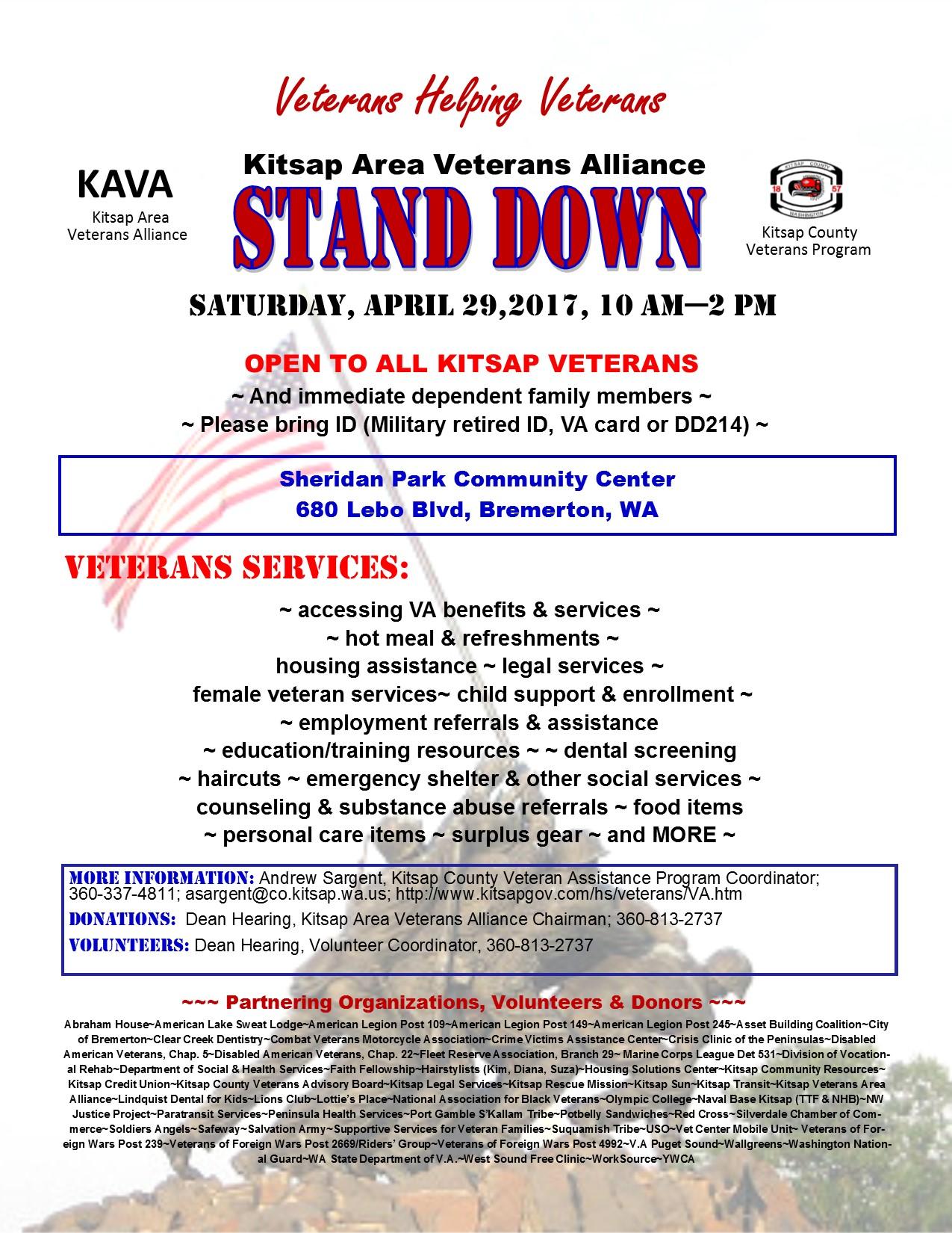 Veterans Helping Veterans | Kitsap Area Veterans Alliance STAND DOWN Flyer