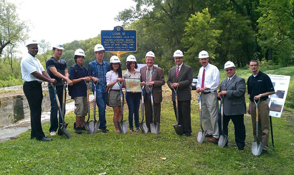 On August 15, 2012 key partners in the Lock 19 project broke ground for the new bridge, picnic area, and observation platform