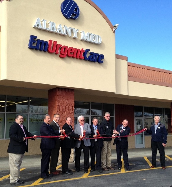 To kick off the grand opening of Albany Med EmUrgentCare, a ribbon cutting was held on Oct 31, 2016