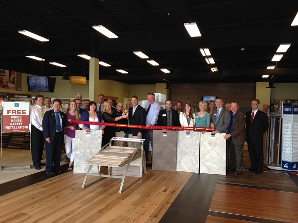 Ribbon cutting for grand opening of Carpet One Floor & Home