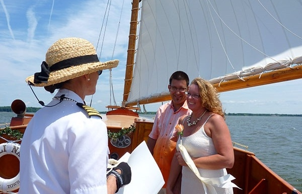 St Michaels wedding on a sailboat
