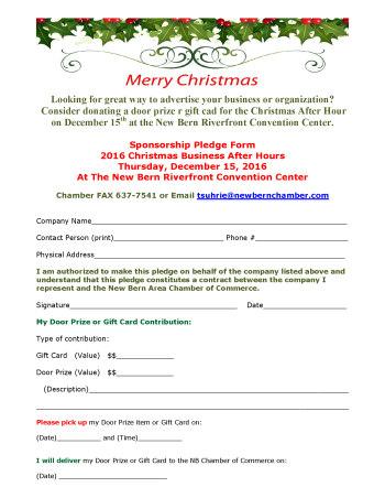 donations sponsor door prizes after hours