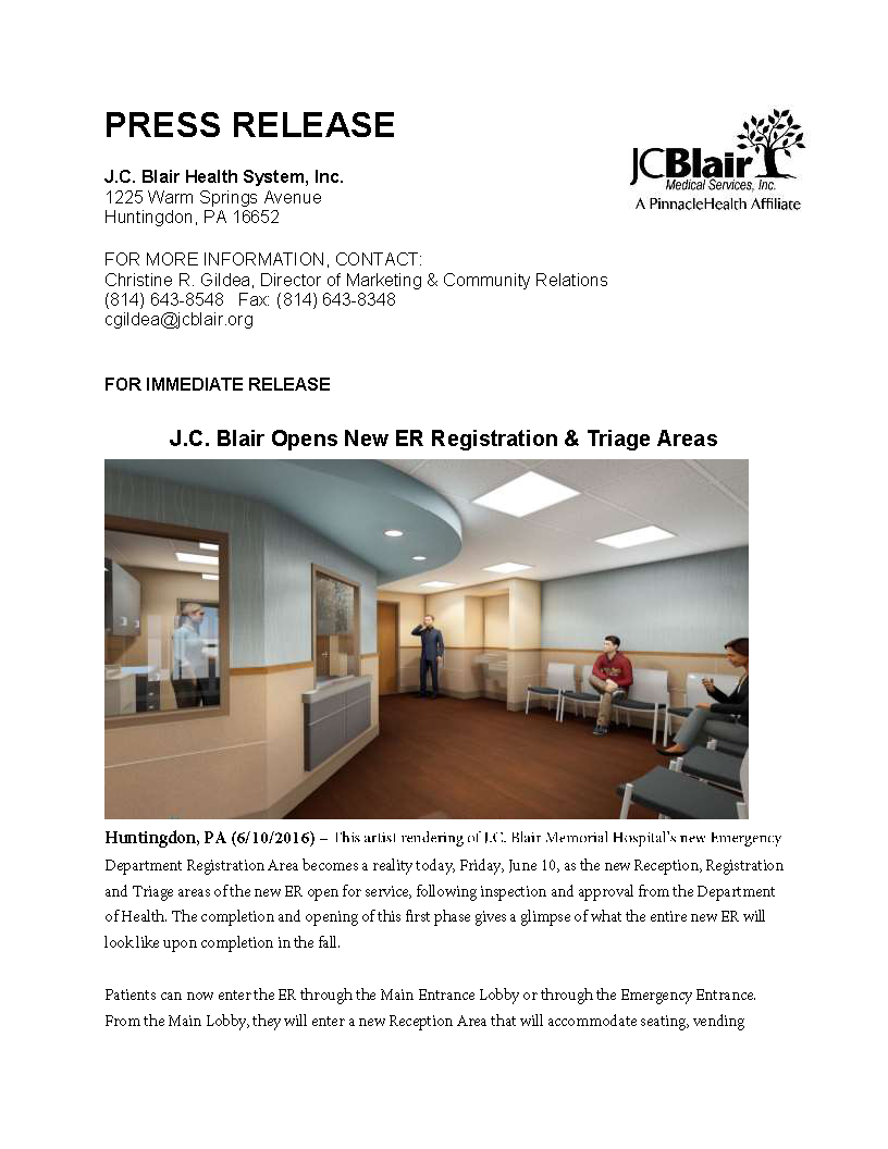 J C  Blair Opens New ER Registration & Triage Areas