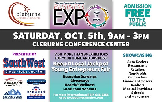 2019 Cleburne Business Expo, Saturday Oct. 5th at the Cleburne Conference Center