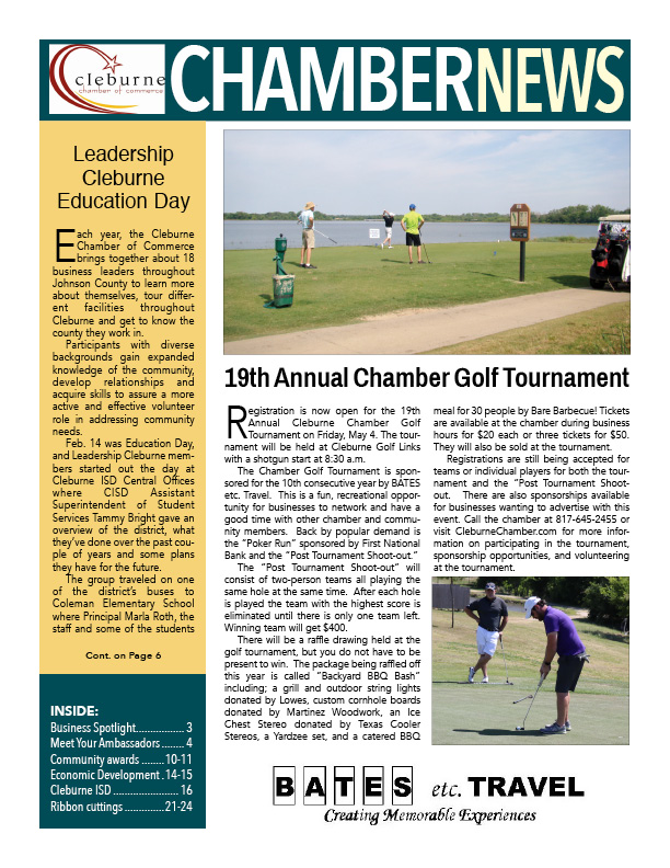 Newsletter, Chamber Golf, Cleburne Economic Development, Cleburne Events