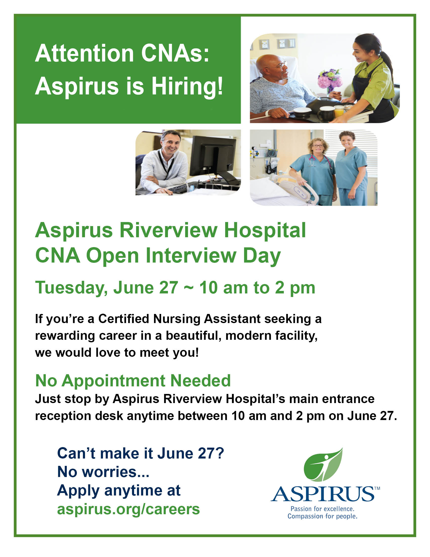 Aspirus Riverview Hospital Cna Open Interview Day Poster Heart Of