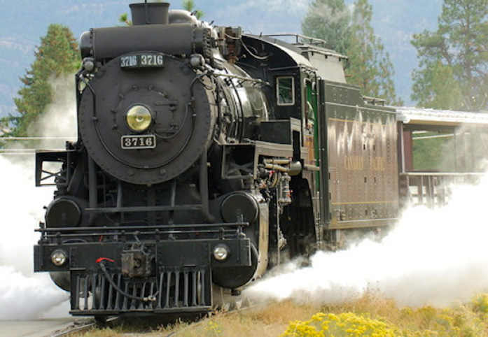 The restored steam locomotive of the Kettle Valley Railway, a unique attraction in Summerland.