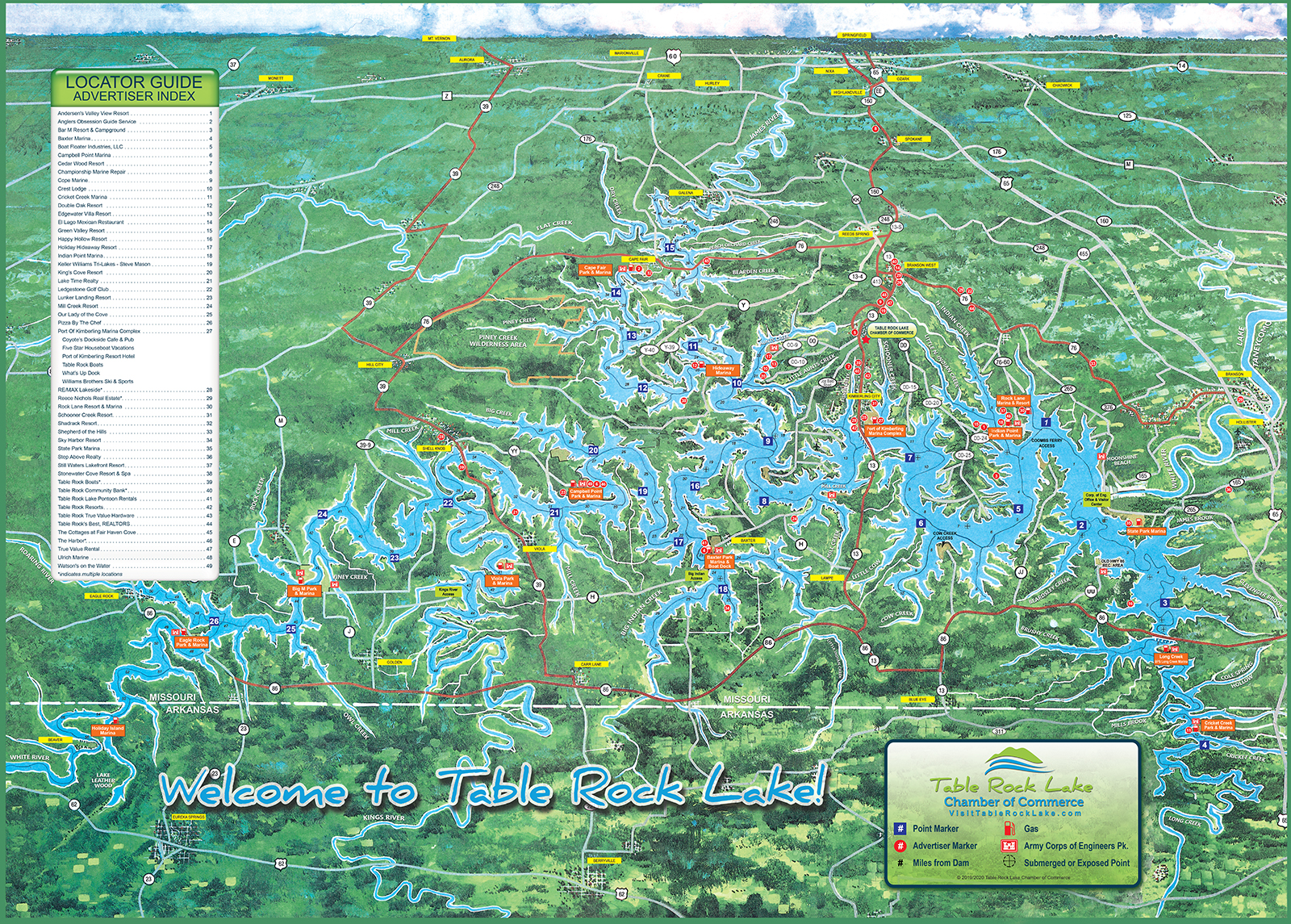Lake Map - Table Rock Lake Chamber of Commerce, MO