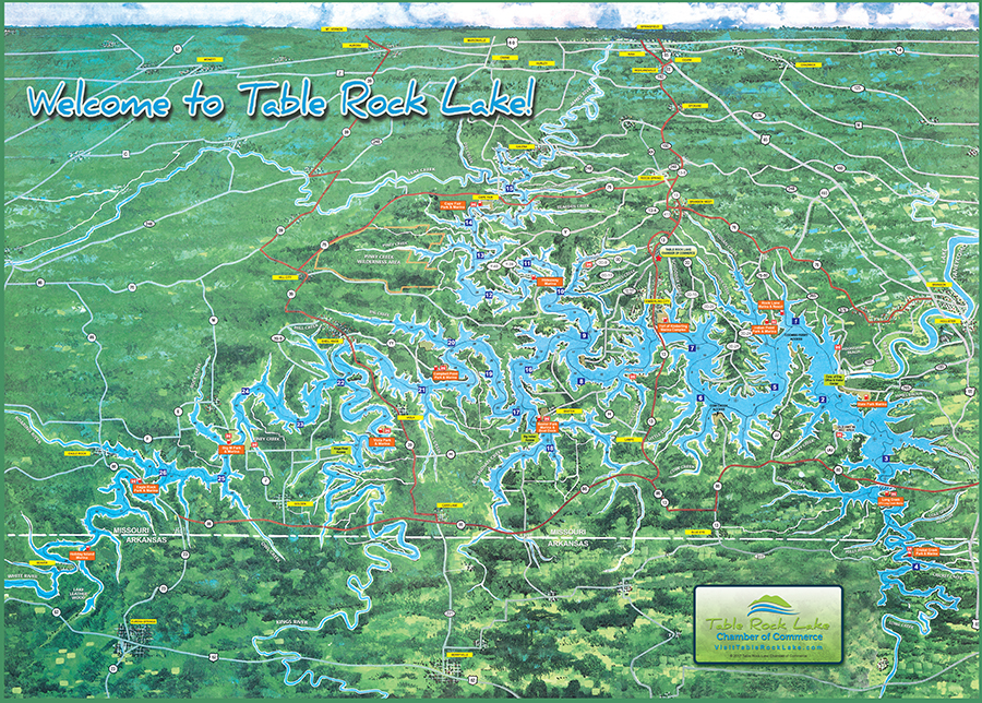 Lake Map Table Rock Lake Chamber of Commerce MO