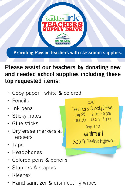 Rim Country Regional Chamber of Commerce Suddenlink Teachers Supply Drive