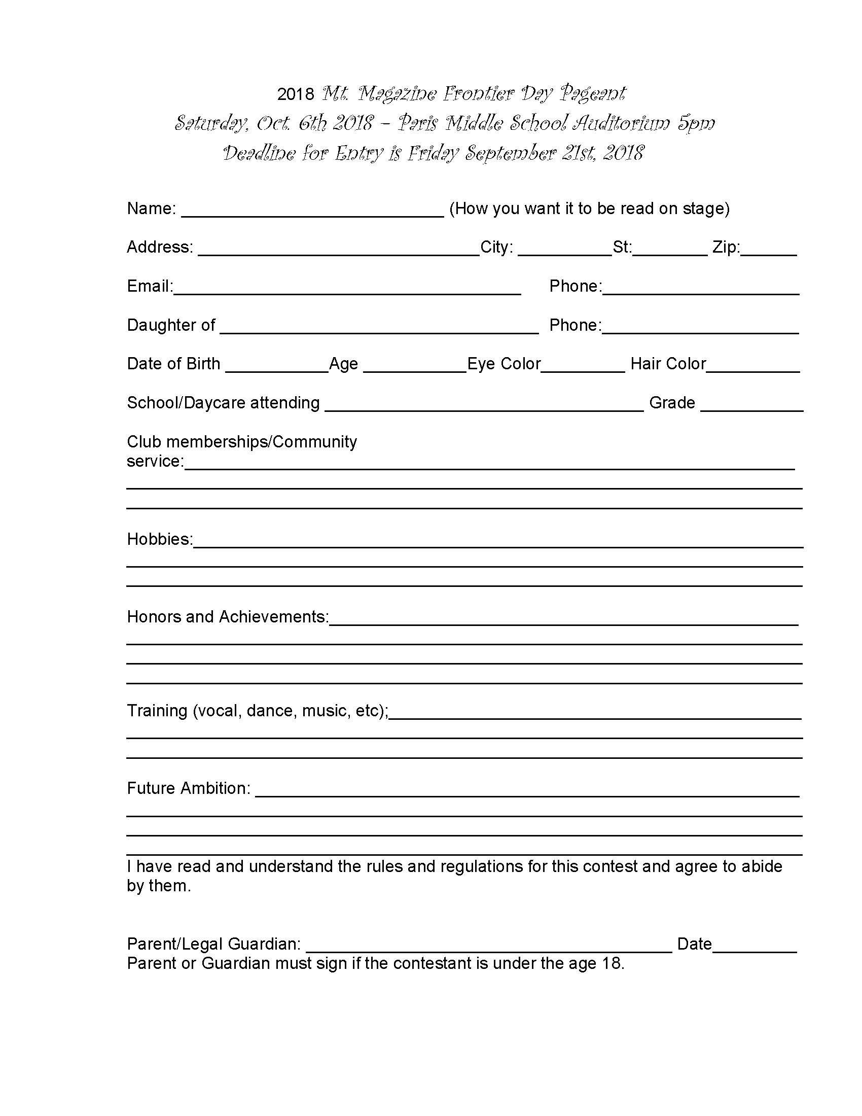 2018 Pageant Application