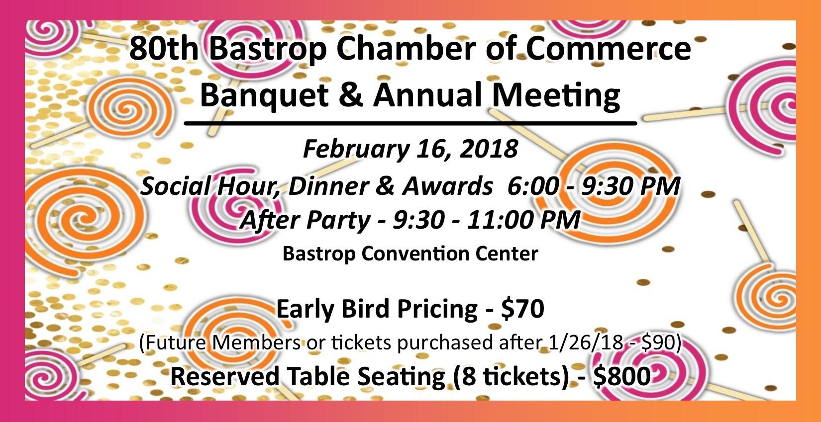 Bastrop Chamber Banquet February 16, 2018
