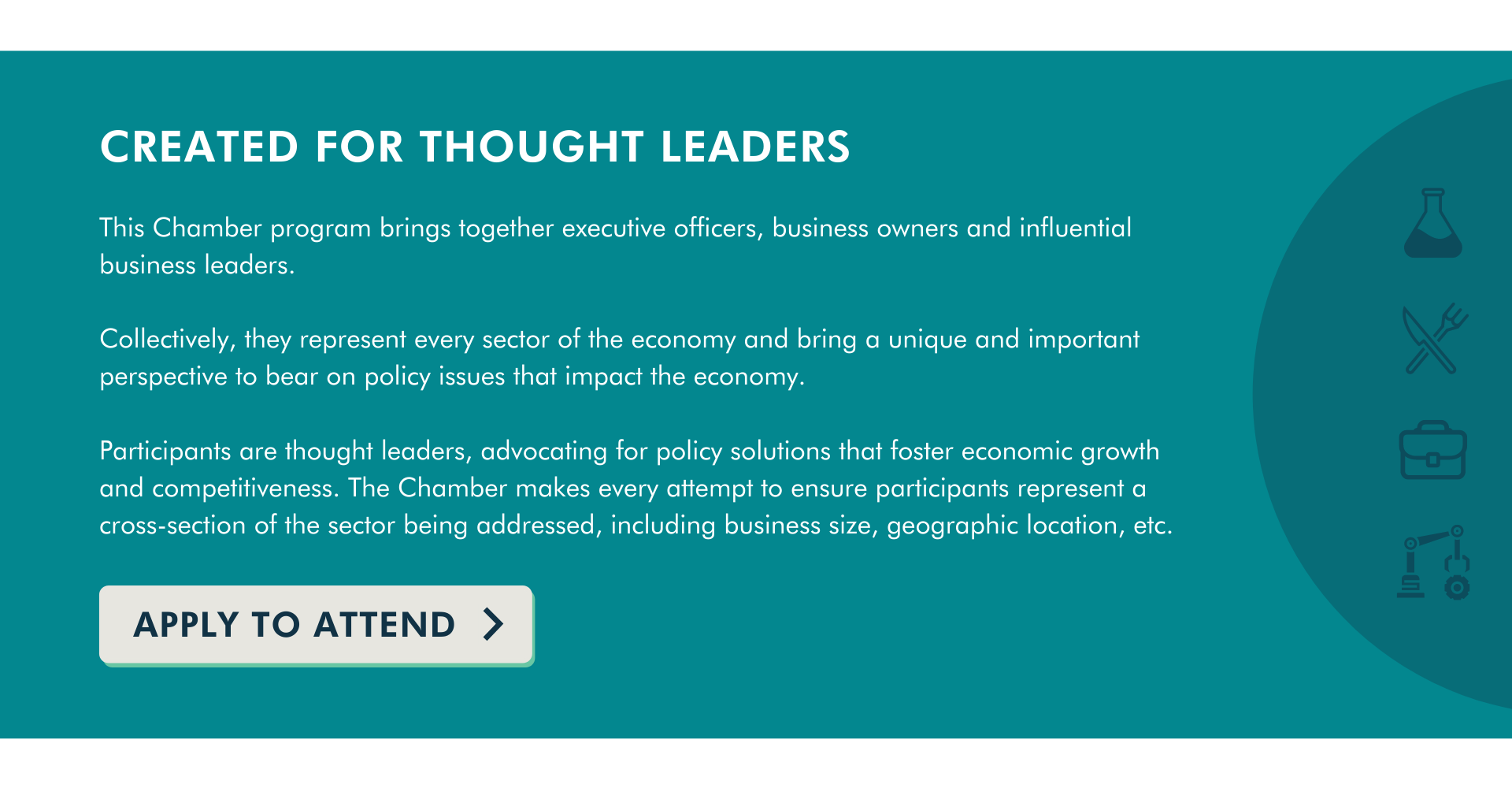 created for thought leaders industry cta apply to attend form link