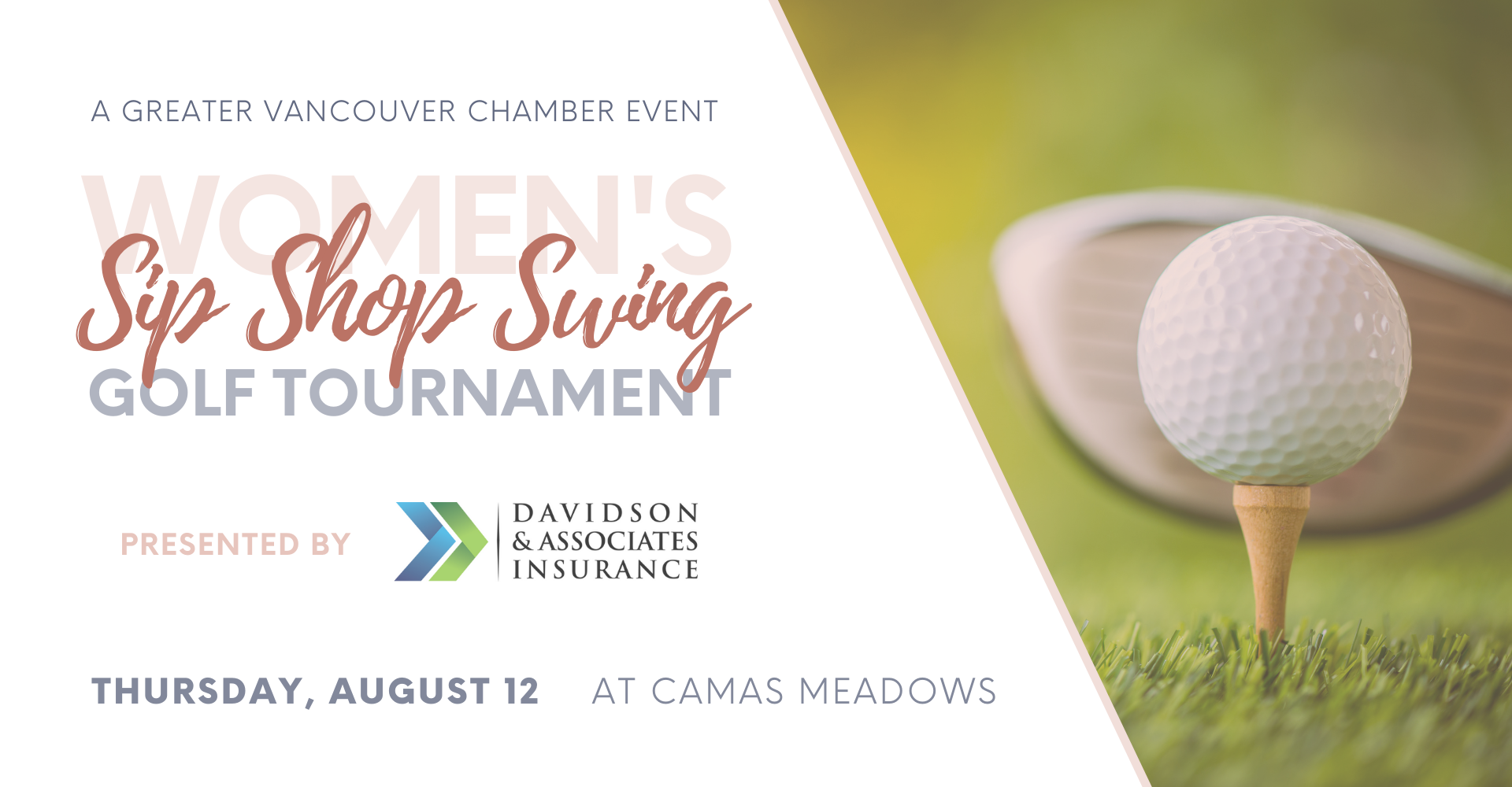 Sip shop swing 6th sixth annual women's golf tournament august 12 2021 camas meadows golf course greater vancouver chamber
