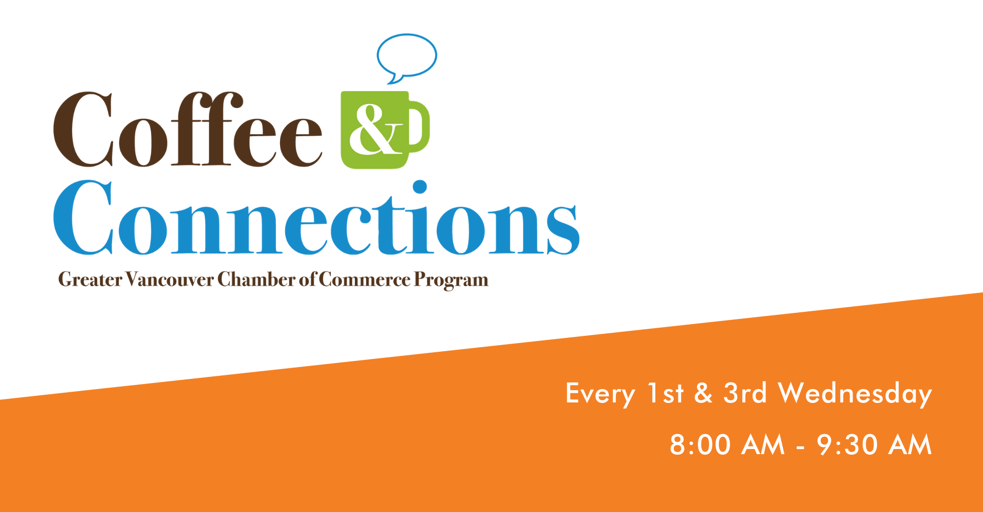 A Unique Virtual Experience to Connect with Business Professionals in Clark County  Connecting with local business professionals is simple with the Chamber's newest program, Coffee & Connections! Through this virtual meeting space, attendees can connect over videochat with different professionals around the region spaced out at different tables during the program. In this structured setting, Executive Directors to Emerging Professionals are encouraged to participate in virtual, small-group interactions, sharing with others the mission of their organization, upcoming events, and exchanging information to connect further offline.