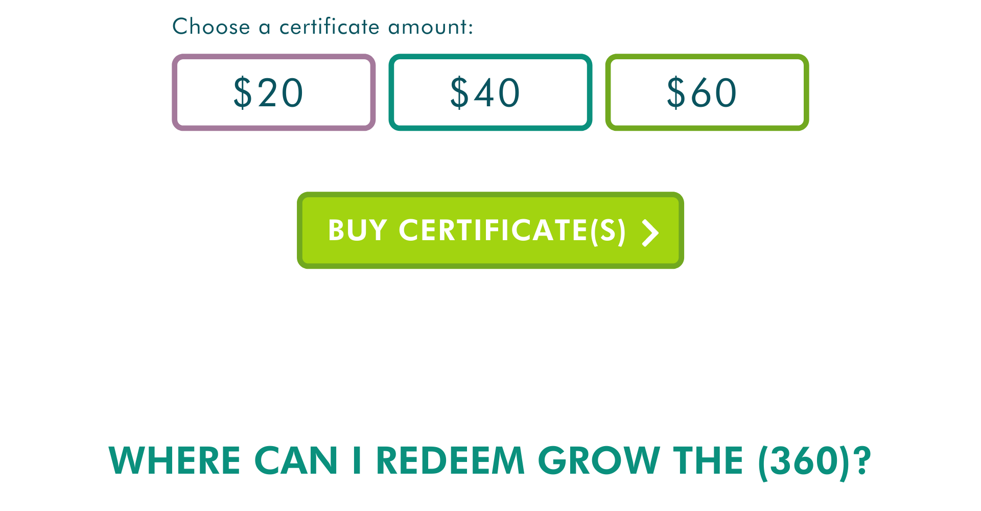 where can i redeem grow the 360 buy certificates 20 40 60 $