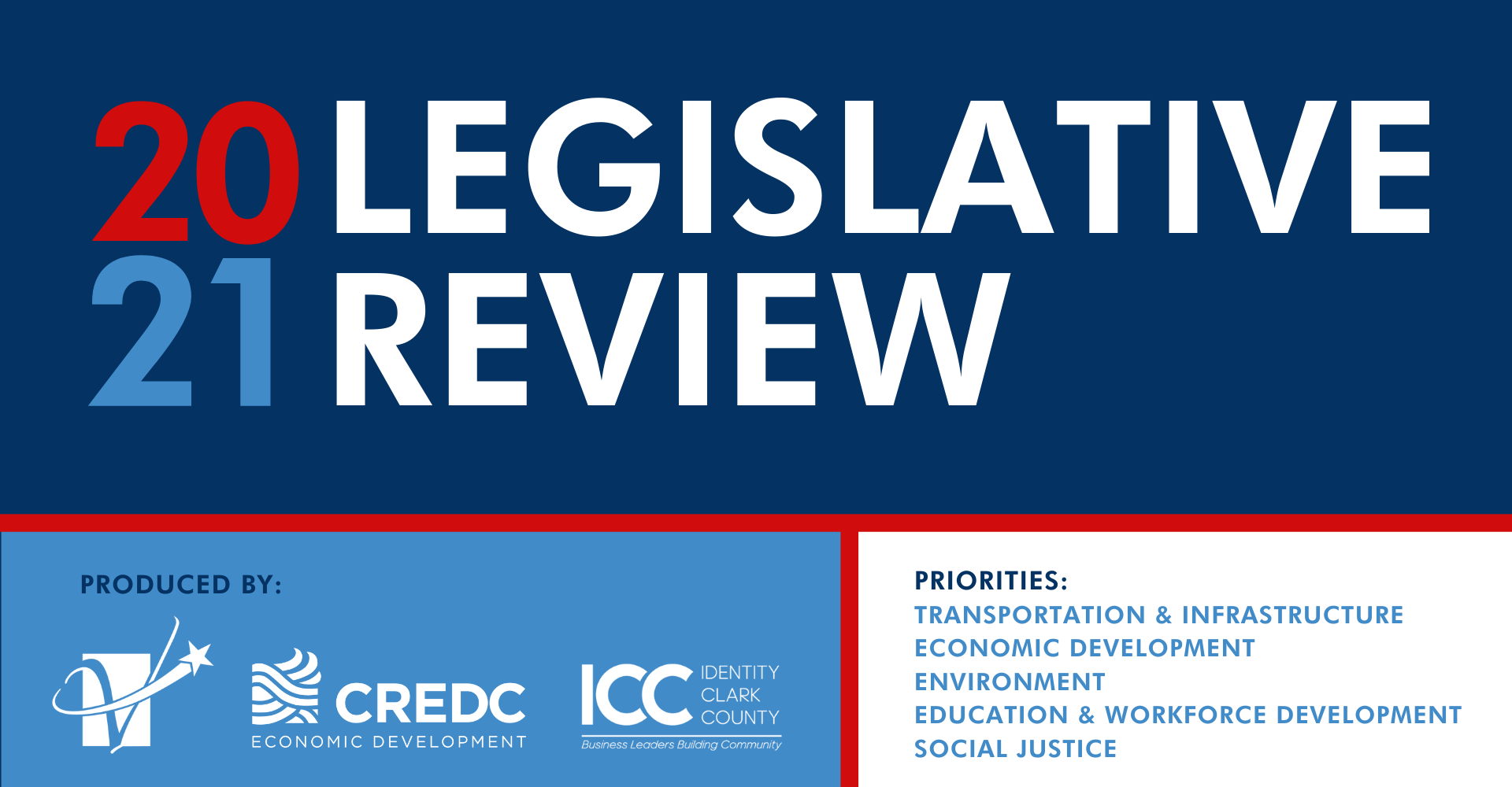 2021 legislative review produced by the greater vancouver chamber columbia river economic development council identity clark county priorities transportation infrastructure economic development environment education workforce development social justice