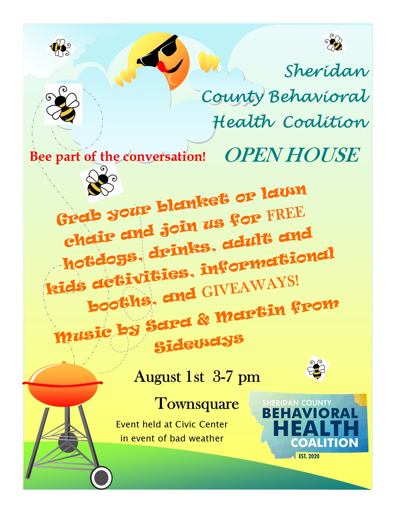 Sheridan County Behavioral Health Coalition Open House Flyer August 1 3 pm - 7 pm Town Square Plentywood