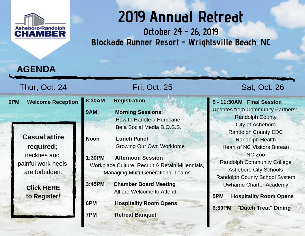 Chamber Retreat 2019 - Oct 24, 2019 to Oct 26, 2019