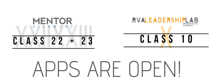 Applications are now open for Mentor Richmond and RVA Leadership Lab, two leadership programs of ChamberRVA.
