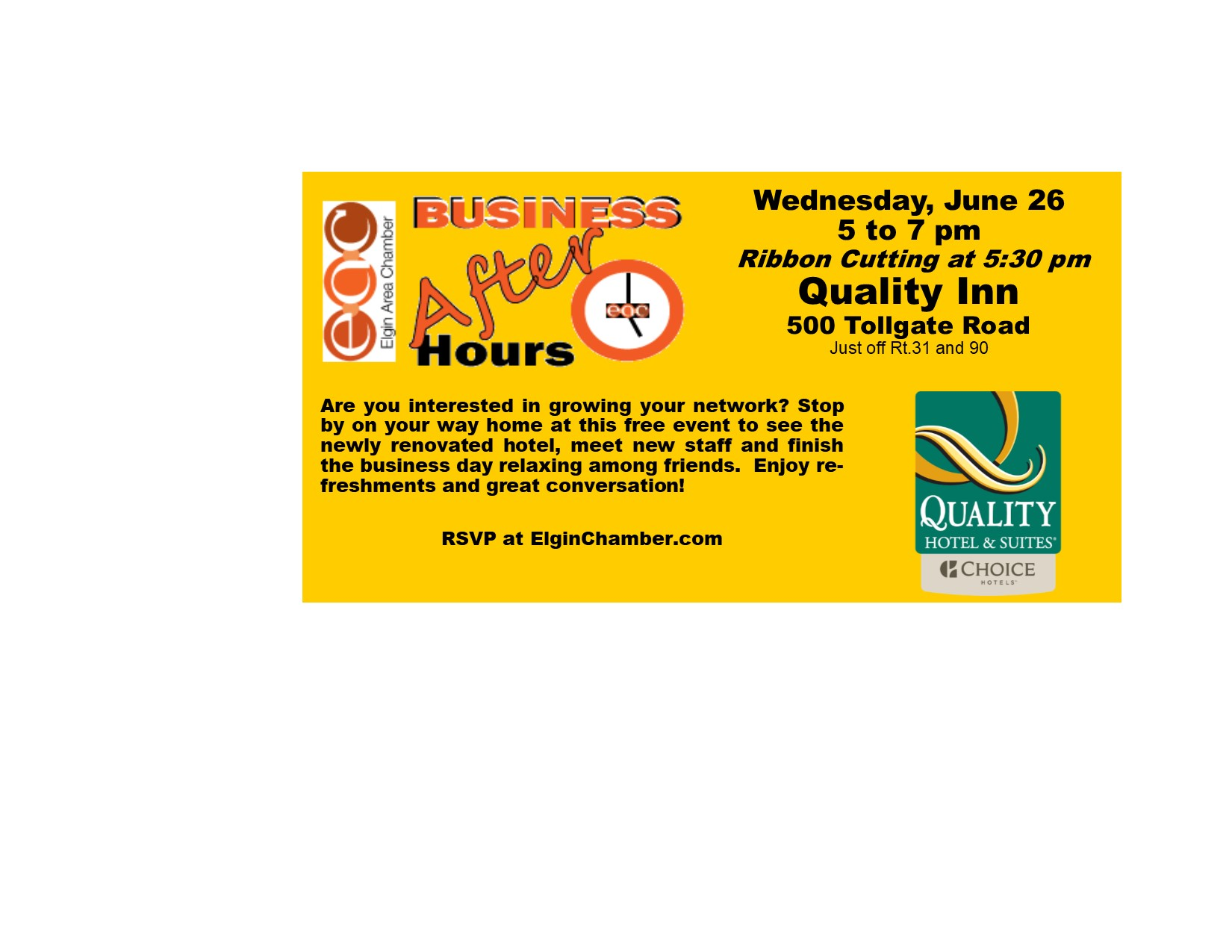 Business After Hours at Quality Inn - Jun 26, 2019 - Elgin