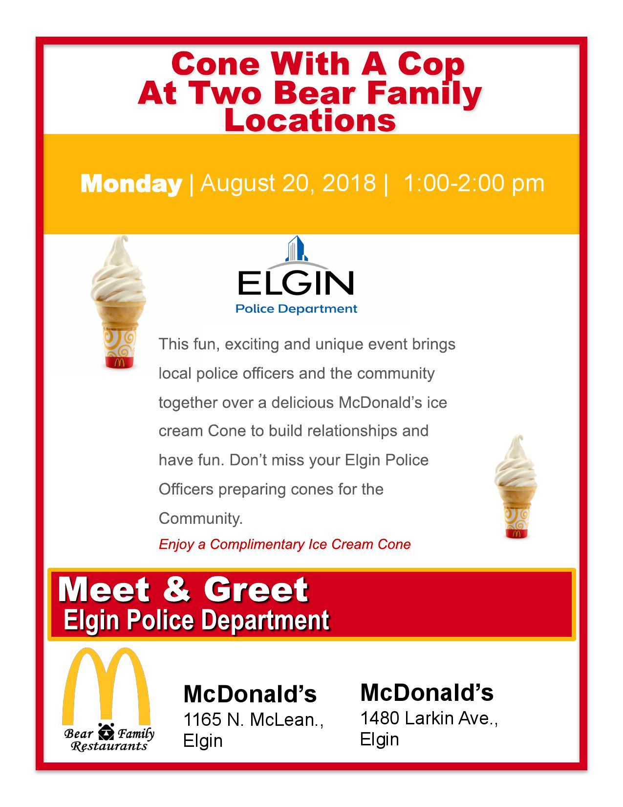 Cone with a Cop at McDonald\'s - Aug 20, 2018 - Elgin Area Chamber