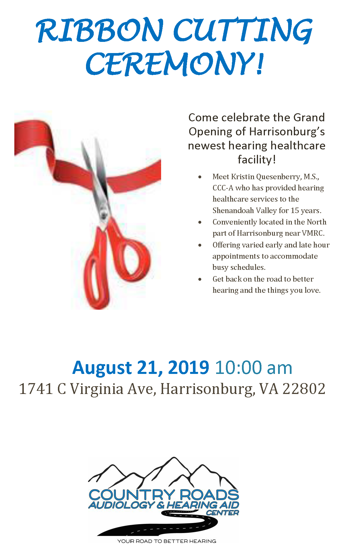 Country Roads Audiology & Hearing Aid Center Ribbon Cutting - Aug 21