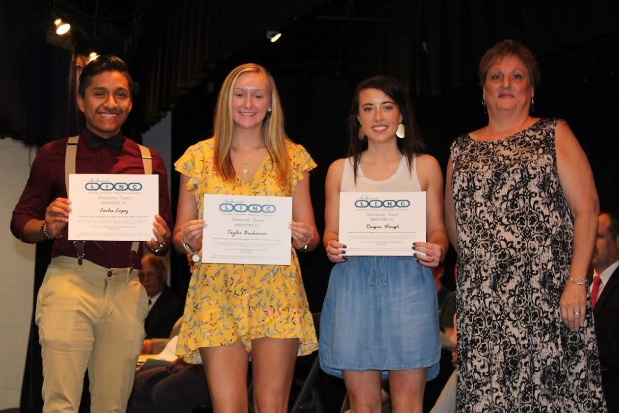 $300 scholarship winners (L-R Carl Lopez, Taylor Buchanan, and Reagan Waugh) with Amy Johnson